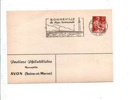 1 ER JOUR FLAMME DE BONNEVILLE HAUTE SAVOIE 1958 - Mechanical Postmarks (Advertisement)