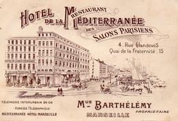 13 Marseille Carte Publicitaire Hôtel De La Méditerrannée - Non Classificati