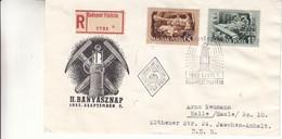 Hongrie - Lettre Recom De 1952 - Oblit Budapest - Foreuse - Lampe De Mineur - Briefe U. Dokumente