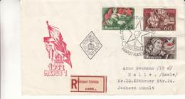 Hongrie - Lettre Recom De 1952 - Oblit Budapest - Journée Du Travail - Cachet De Halle Saale - Briefe U. Dokumente