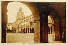Cartolina - Crema - Il Torrazzo E Piazza Del Municipio - 1935 - Cremona