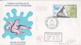 Kerguelen, FDC Du N° 264 (Otarie Avec émetteur) Obl. Premier Jour Le 1/1/00 + Coordonnées - Lettres & Documents