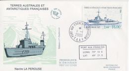 Kerguelen, FDC Du N° 267 (le La Pérouse) Obl. Premier Jour Le 1/1/00 + Coordonnées - Lettres & Documents