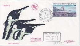 Kerguelen, FDC Du N° 269 (colonie De Manchots Empereur) Obl. Premier Jour Le 1/1/00 + Coordonnées - Lettres & Documents