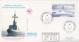 Kerguelen, FDC Du N° 289 (Le Lafayette) Obl. Premier Jour Le 1/1/01 + Coordonnées - Lettres & Documents
