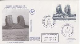 Kerguelen, FDC Du N° 296 (L'Arche De Kerguelen) Obl. Premier Jour Le 1/1/01 + Coordonnées - Lettres & Documents