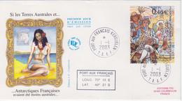 Kerguelen, FDC Du N° 367 (Chevalier De Kerguelen) Obl. Premier Jour Le 1/1/03 + Coordonnées - Lettres & Documents