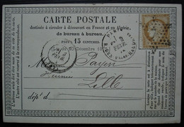Paris 1874 Etoile 7 Sur 15 C Cérès, Sur Carte Précurseur Pour Lille (pli Central) - 1849-1876: Classic Period