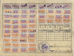 2) 1913 Carte Complète Retraites Ouvrières & Paysannes / Timbres N° 22 X 8 / N° 23 X 14 / N° 28 X 26 / Monneren 57 - Alsace-Lorraine