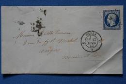 S8 FRANCE BELLE LETTRE 1853 ETOILE DE PARIS G POUR ANGERS + N 14 BLEU NUIT+ AFFRANCH INTERESSANT - 1853-1860 Napoléon III