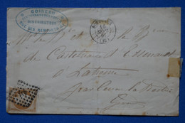 S8 FRANCE BELLE LETTRE 1861 BORDEAUX PAR CENON  + N 13 + AFFRANCH INTERESSANT - 1853-1860 Napoleon III