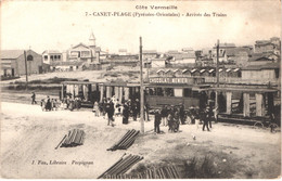 FR66 CANET - Fau 7 - Arrivée Des Trains - Tramway - Animée - Belle - Canet Plage