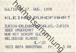 Schweiz - Zürichsee - Kleine Rundfahrt - Zürich Erlenbach Thalwil Zürich Oder Umgekehrt - Nur Mit Schiff - Fahrkarte 1/2 - Europe