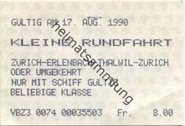 Schweiz - Zürichsee - Kleine Rundfahrt - Zürich Erlenbach Thalwil Zürich Oder Umgekehrt - Nur Mit Schiff - Fahrkarte 199 - Europe