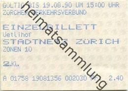 Schweiz - Zürich - Zürcher Verkehrsverbund - Einzelbillett - Stadtnetz Zürich - Fahrkarte 1990 - Europe