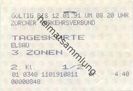 Schweiz - Zürich - Zürcher Verkehrsverbund - Tageskarte Elsau - Fahrkarte 1/2 1991 - Europe
