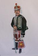C1 DESSIN Couleurs GARDE D HONNEUR Jullian NAPOLEON Grand Format 50 X 65 Cm - Dibujos