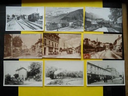 Photo ,TRAMWAY Et Gares De L'ISERE, Collection Bourneuf ,lire Descriptif ,9 Gares Train - Trains