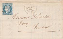 Yvert 60A Lettre VINAY Isère 5/5/1872 GC 4287 Pour Romans - 1849-1876: Classic Period