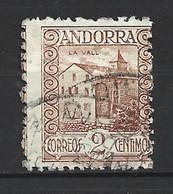ANDORRA CORREO ESPAÑOL SELLO USADO  CON TALADRO MUY DESPLAZADO   Nº 15  ( S.1.B) - Used Stamps