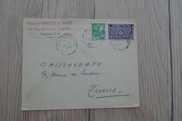 Tunisie Tunisia Lettre Pub Truchetet Et Tansini Bizerte Pour Tunis 2 TP Anciens 1948 - Tunisia