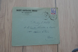 Tunisie Tunisia Lettre Pub Société Coopérative Vinicole De Chaouat Vins  Pour Tunis 1 TP Anciens 1938 - Tunisia