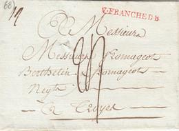 LETTRE. MARQUE ROUGE VILLEFRANCHE D B . LENAIN N° 4. RHONE VILLEFRANCHE DE BEAUJOLAIS. TAXE 24 POUR TROYES - 1701-1800: Vorläufer XVIII