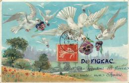 Figeac * Souvenir De La Commune * Illustration Oiseaux Fleurs - Figeac