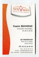 Carte De Visite °_ Carton-Solvimo-Conseil Immobilier-32 Auch - Visiting Cards