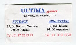 Carte De Visite °_ Carton-Ultima Game-PC.Consoles.DVD.Vidéos-92 Puteaux - Visiting Cards