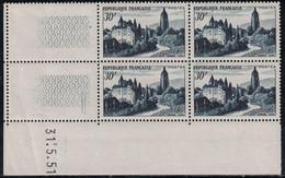 ARBOIS - N°905-   BLOC DE 4 COIN DATE - 31-5-1951 - COTE 6.50€. - 1940-1949