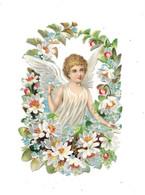 Découpi Enfant Ange Dans Couronne Fleurs, - Angels