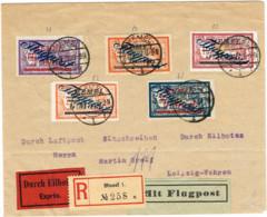 MEM 33 - MEMEL Lettre Express Recommandée Par Avion Avec Mersons Yvert PA 15-16-17-18-19 Avec VARIETES - Storia Postale