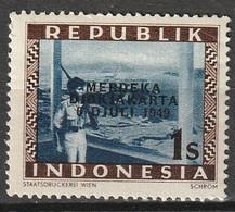 1949 Republik Indonesia 1 Sen Merdeka Djokjakarta MNH**/postfris - Indonesia