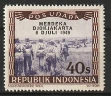 1949 Republik Indonesia 40 Sen POS UDARA Merdeka Djokjakarta MNH** Postfris - Indonesia
