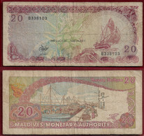 MALDIVES 20 RUFIYAA 1987 P# 12b (NT#01) - Maldives