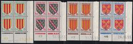 BLASON DE 1955 - N°1044-1045-1046-1047 -  BLOC DE 4 COIN DATE - COTE4€ - 1940-1949