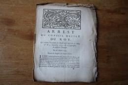 1734  Arrest  Du Conseil D'éstat  Du Roy  Suppression D'ouvrages Concernant Le Problème Religieux Dont Jansénisme - Documents Historiques