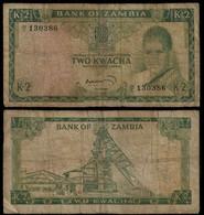 Zambia Banknote 2 Kwacha ND (1969) Pick 11c Sign.4 F (NT#01) - Zambia