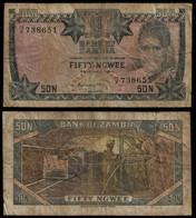 Zambia Banknote 50 Ngwee ND (1973) Pick 14a F (NT#01) - Zambia