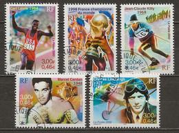 FRANCE Oblitéré 3312-3319 Sport Marcel Cerdan Carl Lewis Jean Claude Killy Charles Lindbergh Ski Boxe Football Avion - Used Stamps
