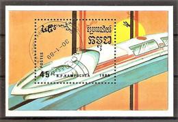 Kambodscha Block 163 O (Mi.Nr. 1014) Schienenfahrzeuge 1989 - Kambodscha