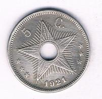 5 CENTIMES 1921 BELGISCH CONGO /3986/ - 1910-1934: Albert I