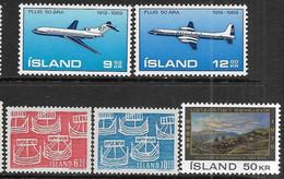 Iceland   1969-70   Sc#404-5, 410-1, 424  5 Diff  MNH  2016 Scott Value $5.15 - Unused Stamps