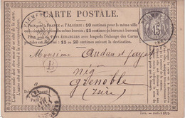 "FRANCE : CARTE PRECURSEUR . DE "" FLUMET . TYPE SAGE . DATEE DE ST NICOLAS LA CHAPELLE . 1878 . - 1877-1920: Semi-Moderne"