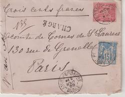 "FRANCE :  AFFRANCHISSEMENT A 65 Cts . TYPE SAGE . CHARGE . "" LYON PERRACHE RHONE "" . 1899 . - 1877-1920: Semi-Moderne"