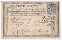 France - Algérie - Sage France 15 C Gris (YT N° 66) Sur Carte Précurseur - Bone - 1877-1920: Semi-Moderne