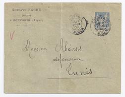 France - Algérie - Sage France 15 C Bleu Sur Enveloppe - Boufarik / Alger - 1877-1920: Semi-Moderne