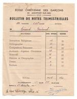 Bulletin De Notes Trimestrielles école Chrétienne Des Garçons En 1945 - Format : 16x12cm - Diplômes & Bulletins Scolaires
