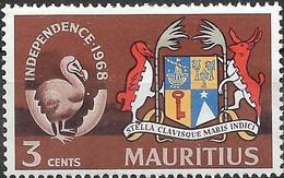 MAURITIUS 1968 Independence - 3c - Arms And Mauritius Dodo Emblem MH - Mauricio (1968-...)